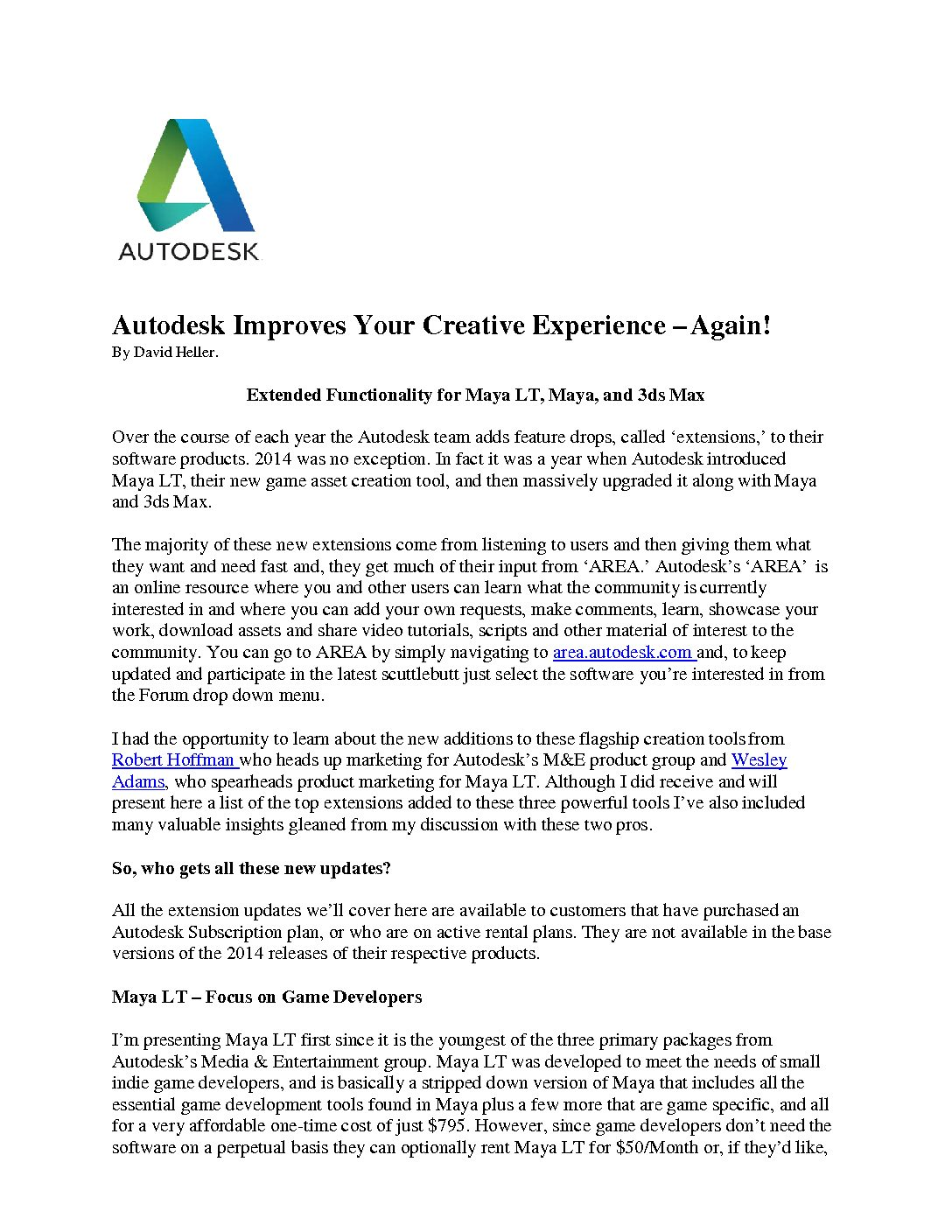 Autodesk Improves your Creative Experience