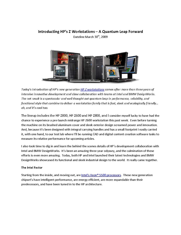 HP Z Series Intro