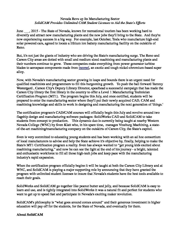 Press Release - Nevada